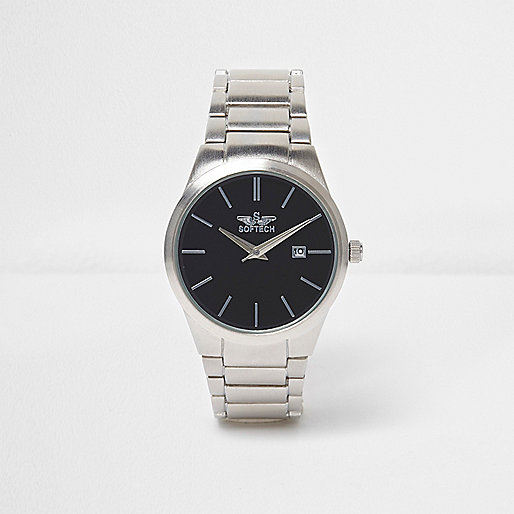 Black silver tone contrast watch