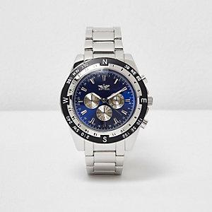 Kompass-Armbanduhr in Grau und Silber