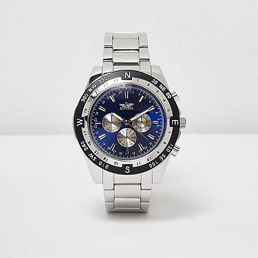 Grey silver tone compass watch