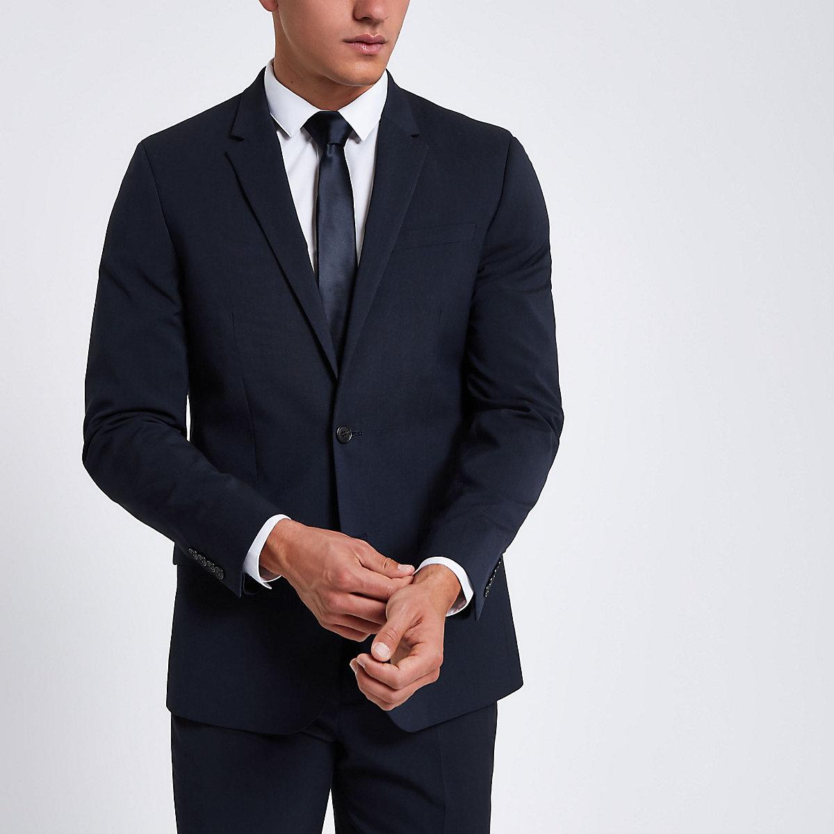Dark blue slim fit suit jacket