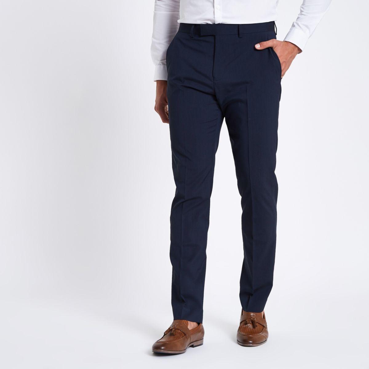 Dark blue stretch slim fit suit pants