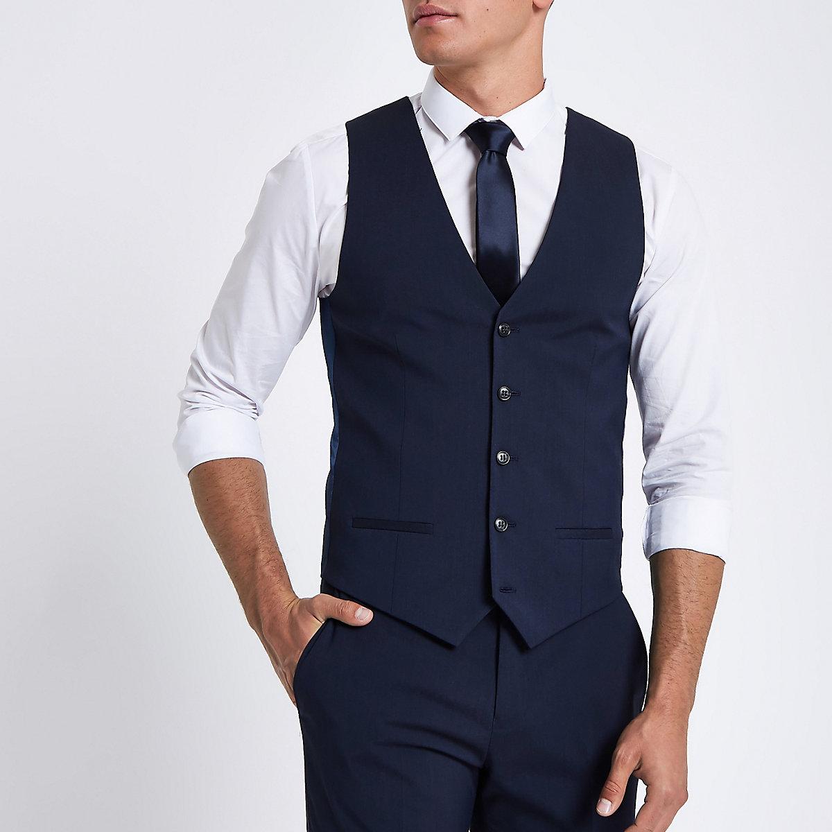 Dark blue suit waistcoat