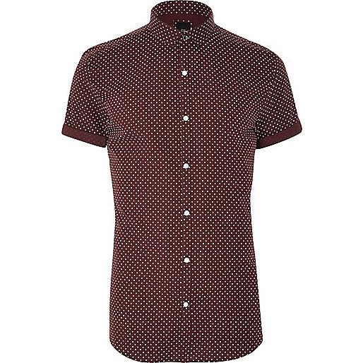 Big and Tall burgundy polka dot shirt