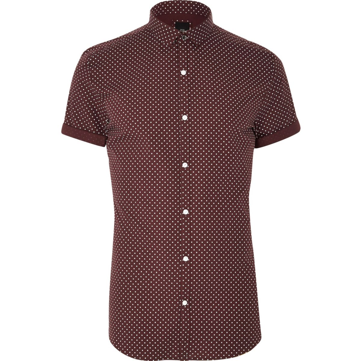 Big and Tall burgundy polka dot shirt
