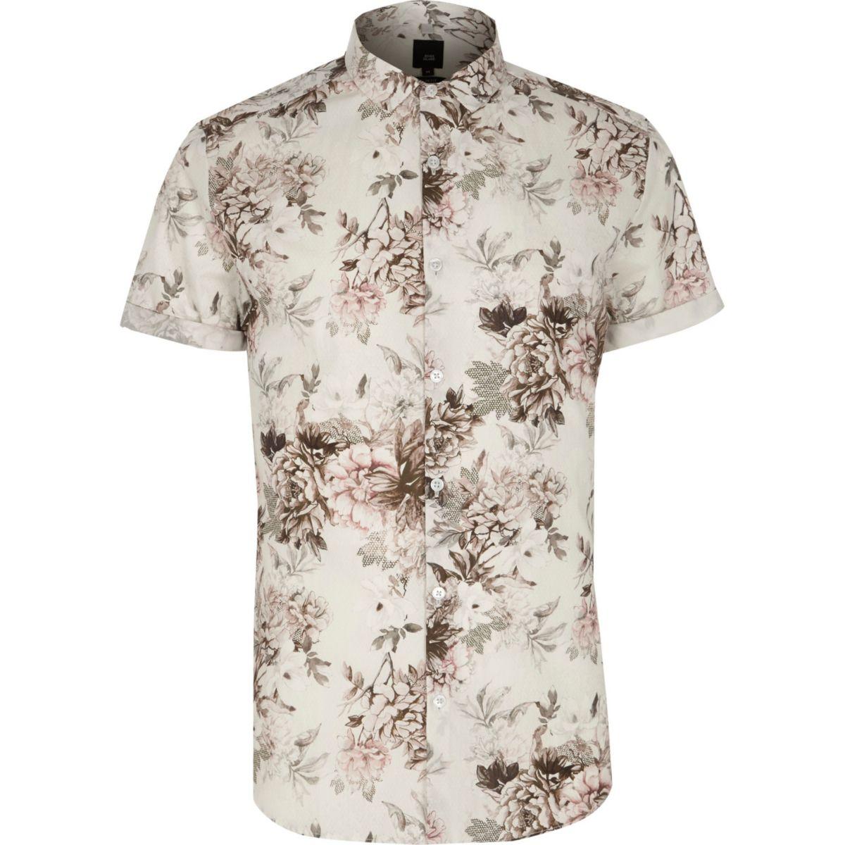 Big and Tall - Crème overhemd met korte mouwen en bloemenprint