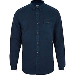 Dunkelblaues Slim Fit Button-down-Hemd