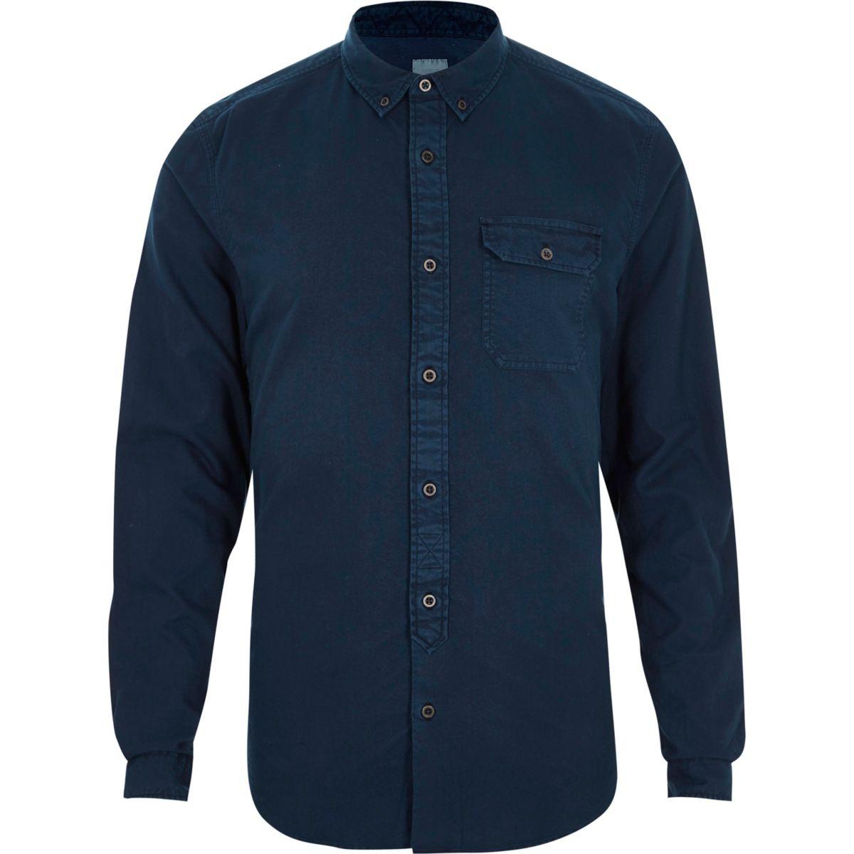 Dark blue washed slim fit button-down shirt