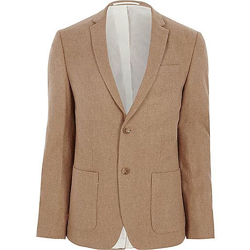 Camel skinny fit wool blend blazer