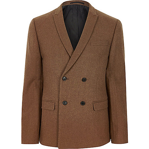 Rust brown double breasted skinny fit blazer