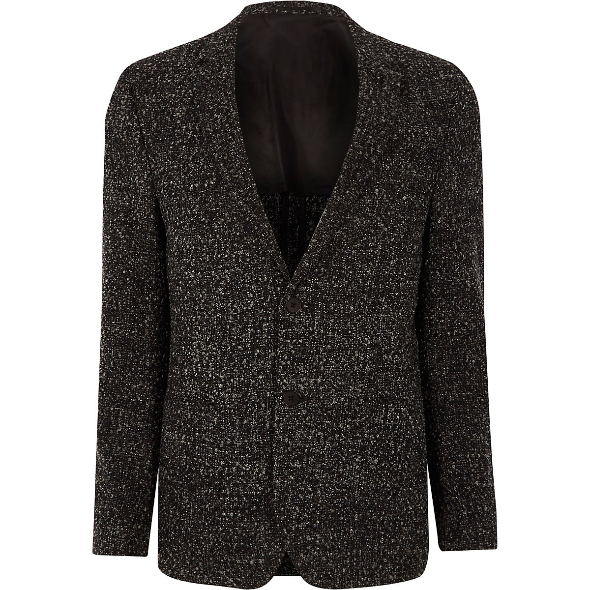 Navy boucle skinny fit blazer