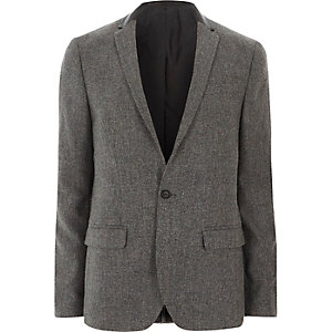 Grey contrast collar skinny fit blazer