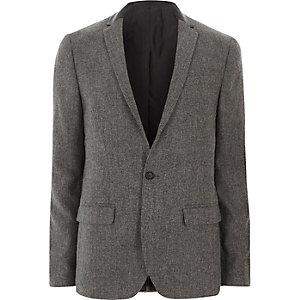 Blazer skinny gris à col contrastant