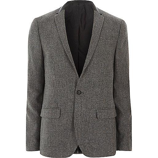 Grey contrast collar skinny fit blazer