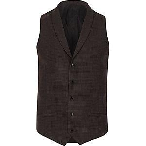 Grey check smart shawl lapel waistcoat