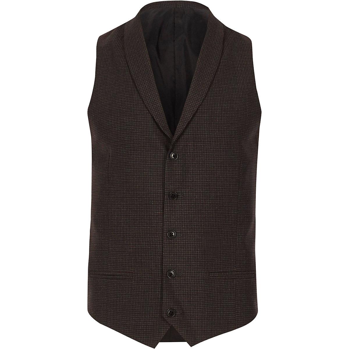 Grey check smart shawl lapel vest