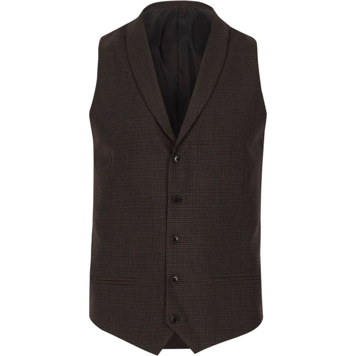 Grey check smart shawl lapel vest