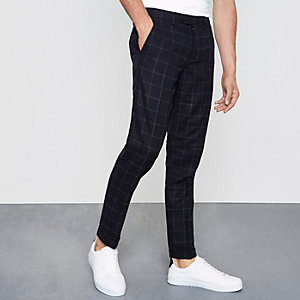 Navy check skinny fit smart trousers