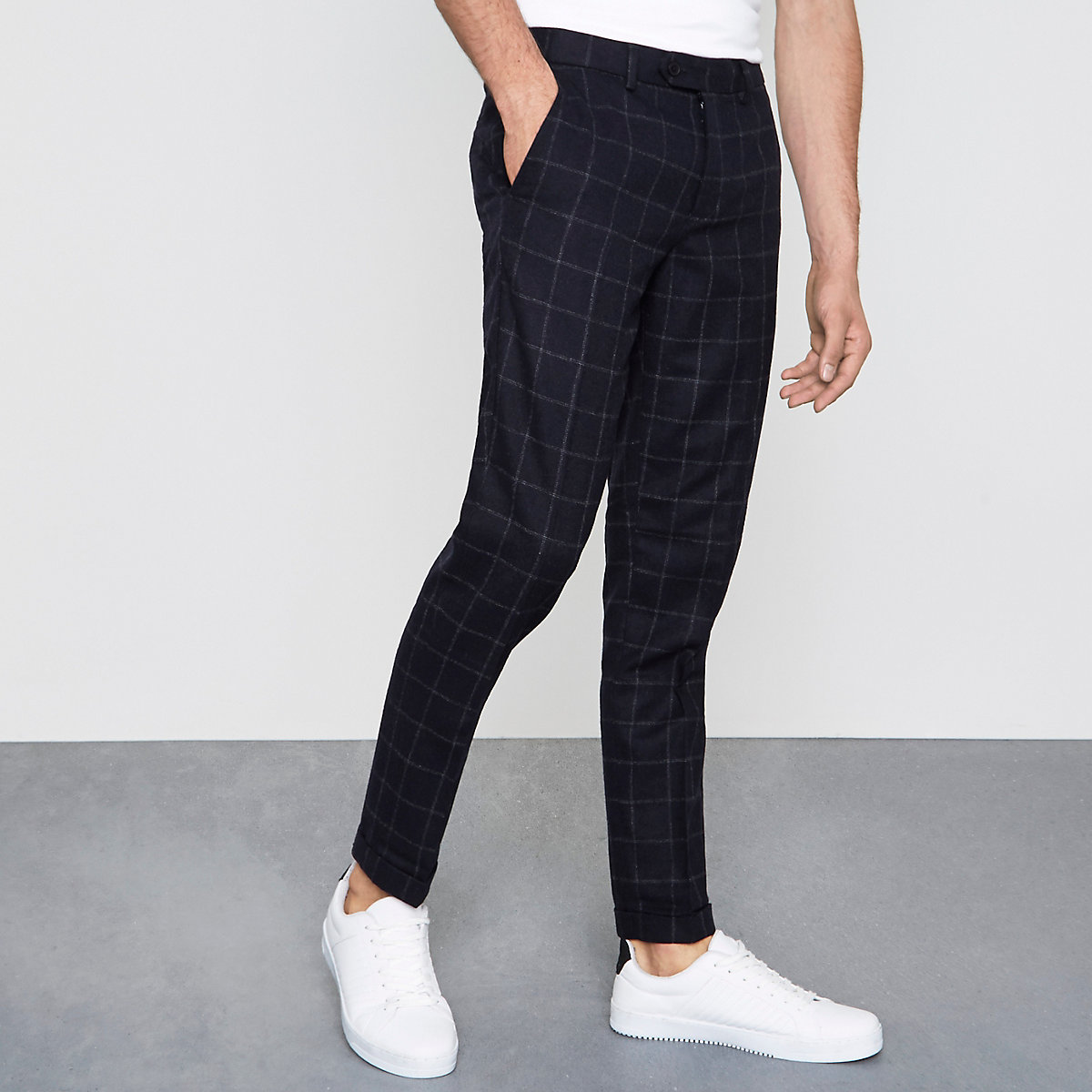 Navy check skinny fit smart pants