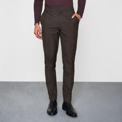 River Island Pantalon skinny habillé à motif pied-de-poule gris
