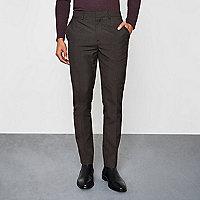 Pantalon skinny habillé à motif pied-de-poule gris