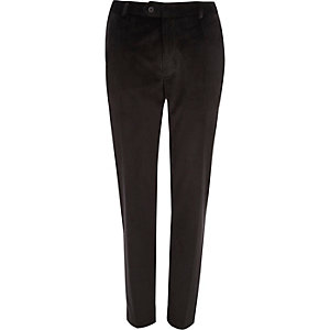 Black velvet skinny fit smart trousers