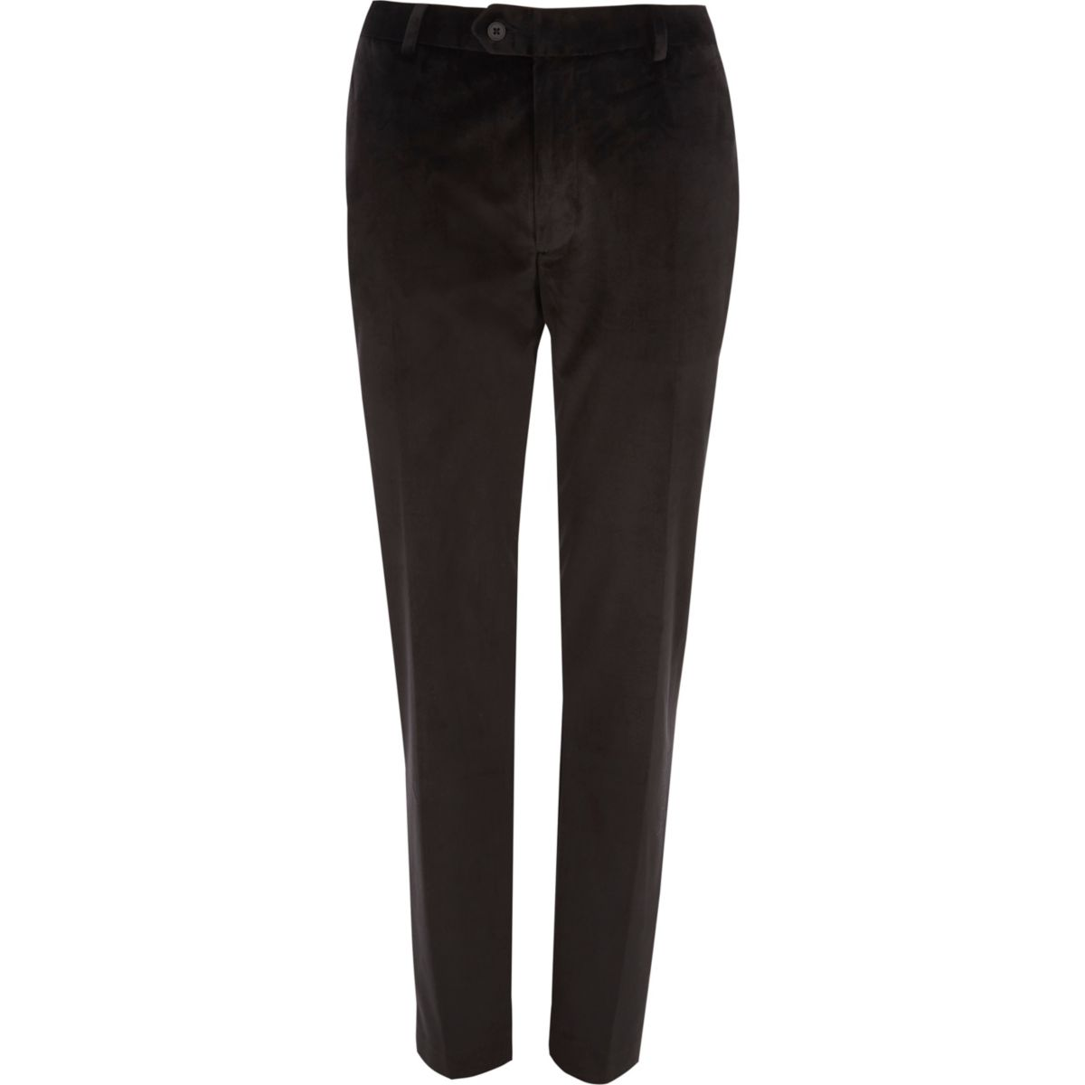 Black velvet skinny fit smart trousers