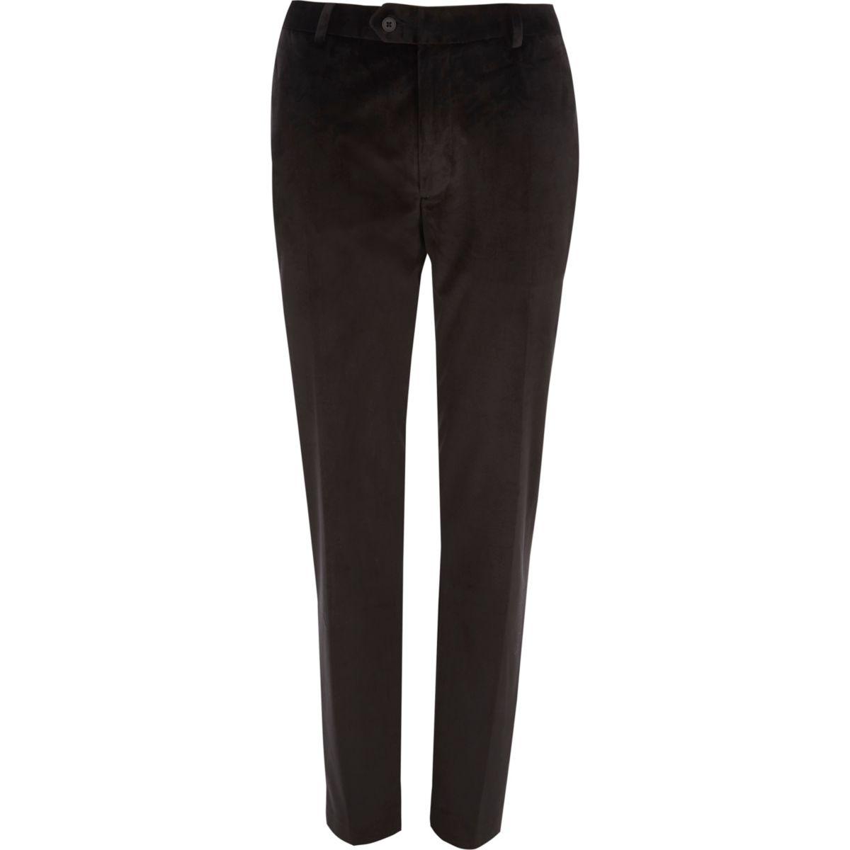 Black velvet skinny fit smart pants