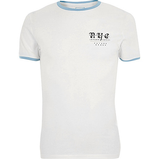 White 'NYC' muscle fit blue ringer T-shirt
