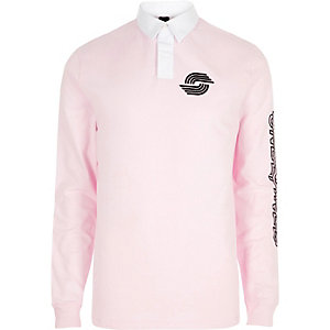 Pinkes, langärmliges Slim Fit Polohemd