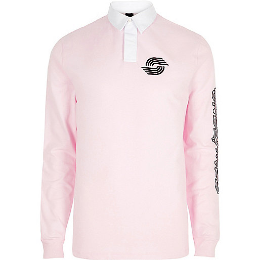 Pink slim fit long sleeve rugby polo shirt
