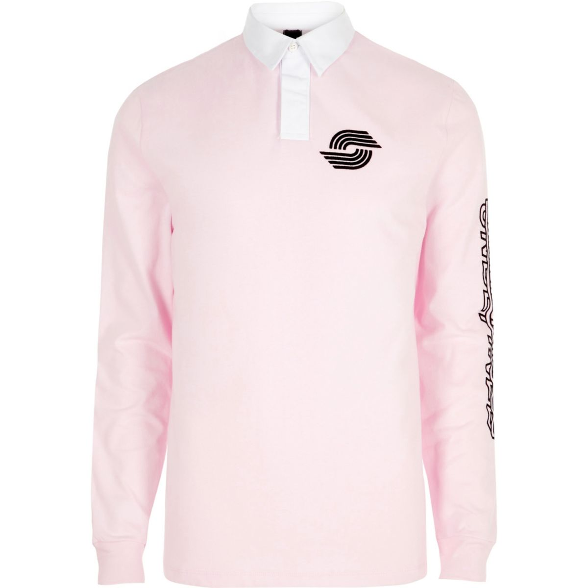 Pink Slim Fit Long Sleeve Rugby Polo Shirt Polo Shirts