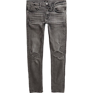 Danny - Zwarte washed ripped superskinny jeans