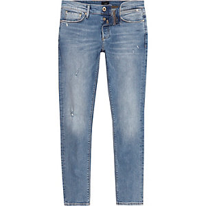 Sid - Lichtblauwe distressed skinny jeans