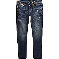 Dark blue wash distressed Sid skinny jeans
