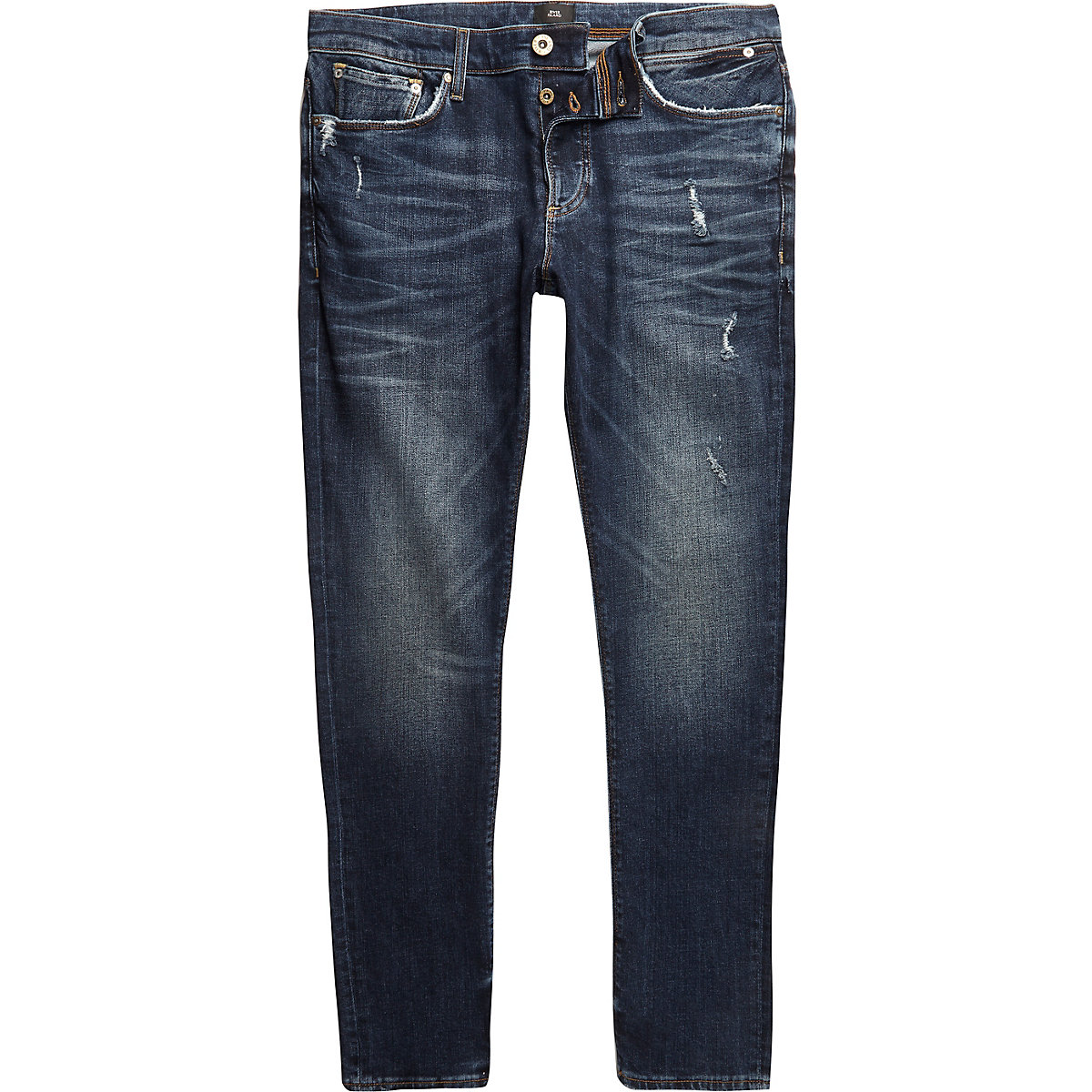 Dark blue wash distressed Sid skinny jeans