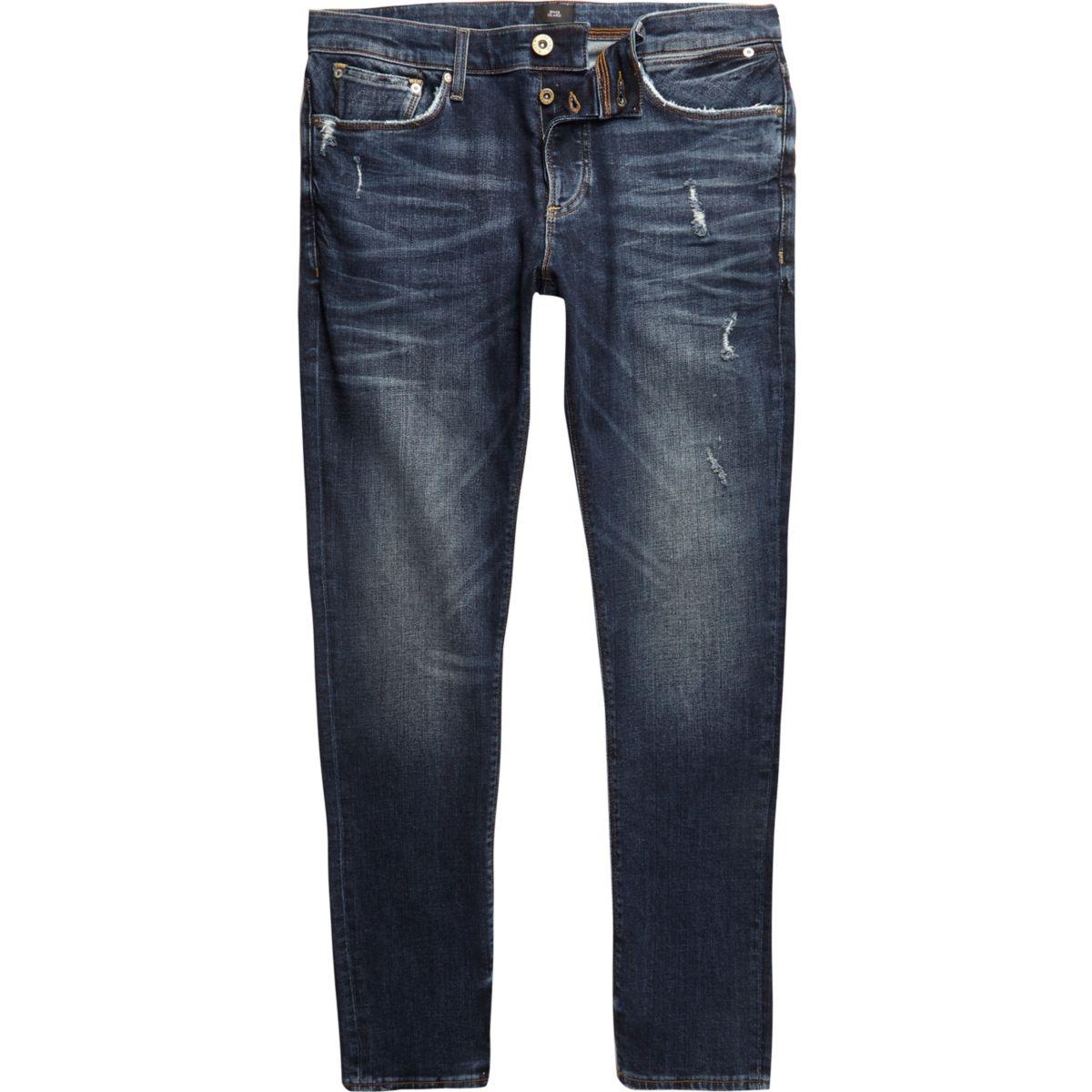 Dark blue wash distressed Sid skinny jeans - Jeans - Sale ... - photo#39