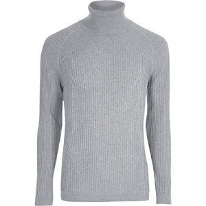 Grey ribbed muscle fit roll neck sweater
