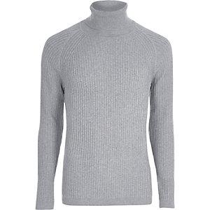 Grijs geribbelde aansluitende pullover met col