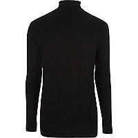 Black ribbed muscle fit roll neck sweater