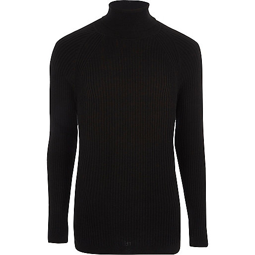 Black ribbed muscle fit roll neck jumper