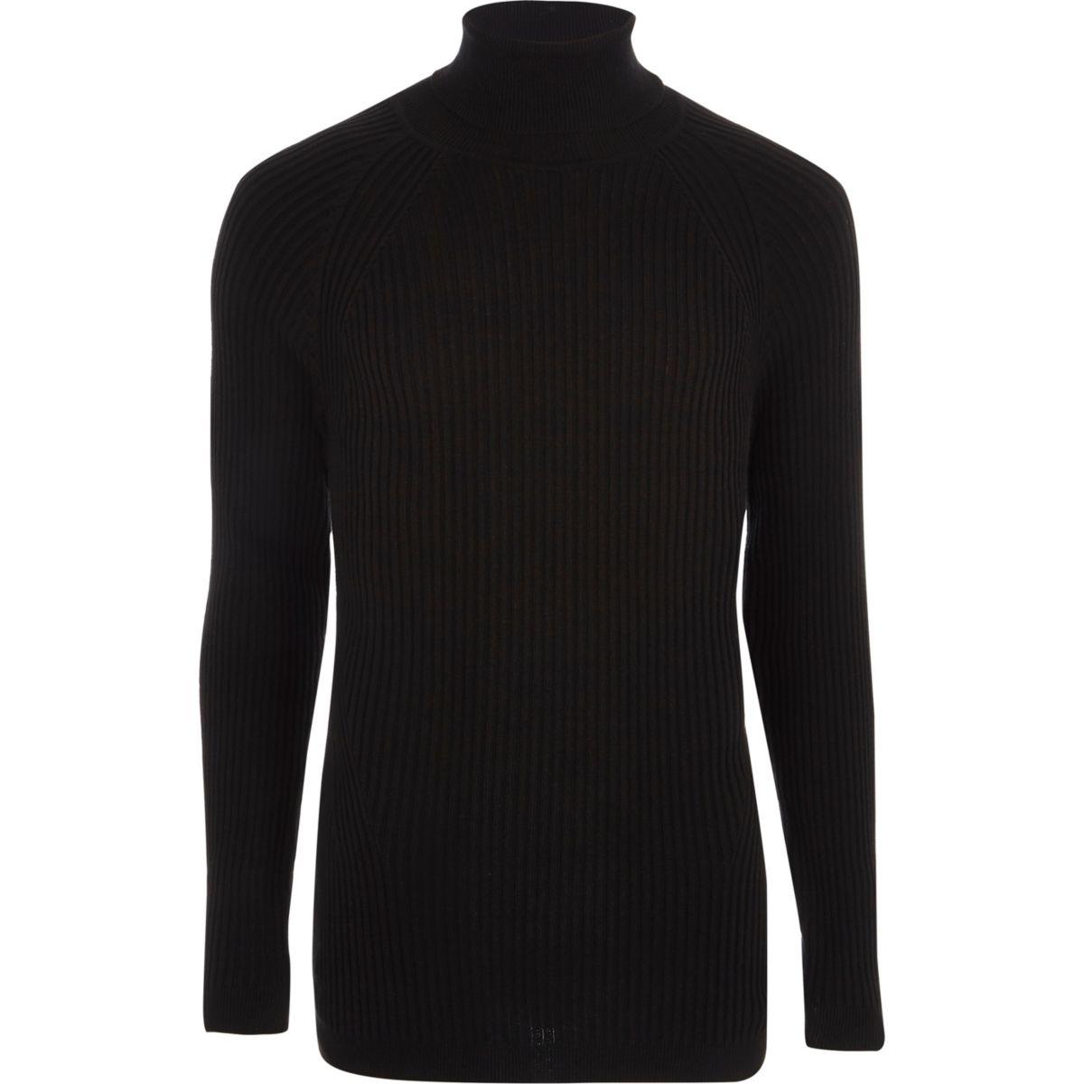 Zwarte geribbelde aansluitende pullover met col