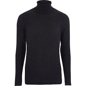 Marineblauwe geribbelde aansluitende pullover met col