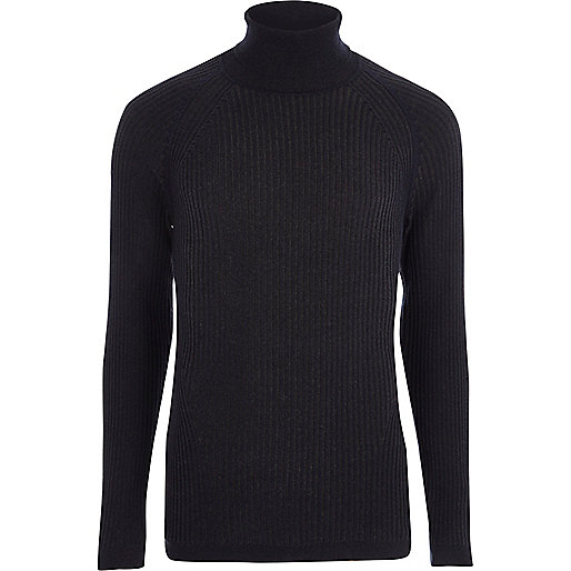 Navy ribbed muscle fit roll neck sweater
