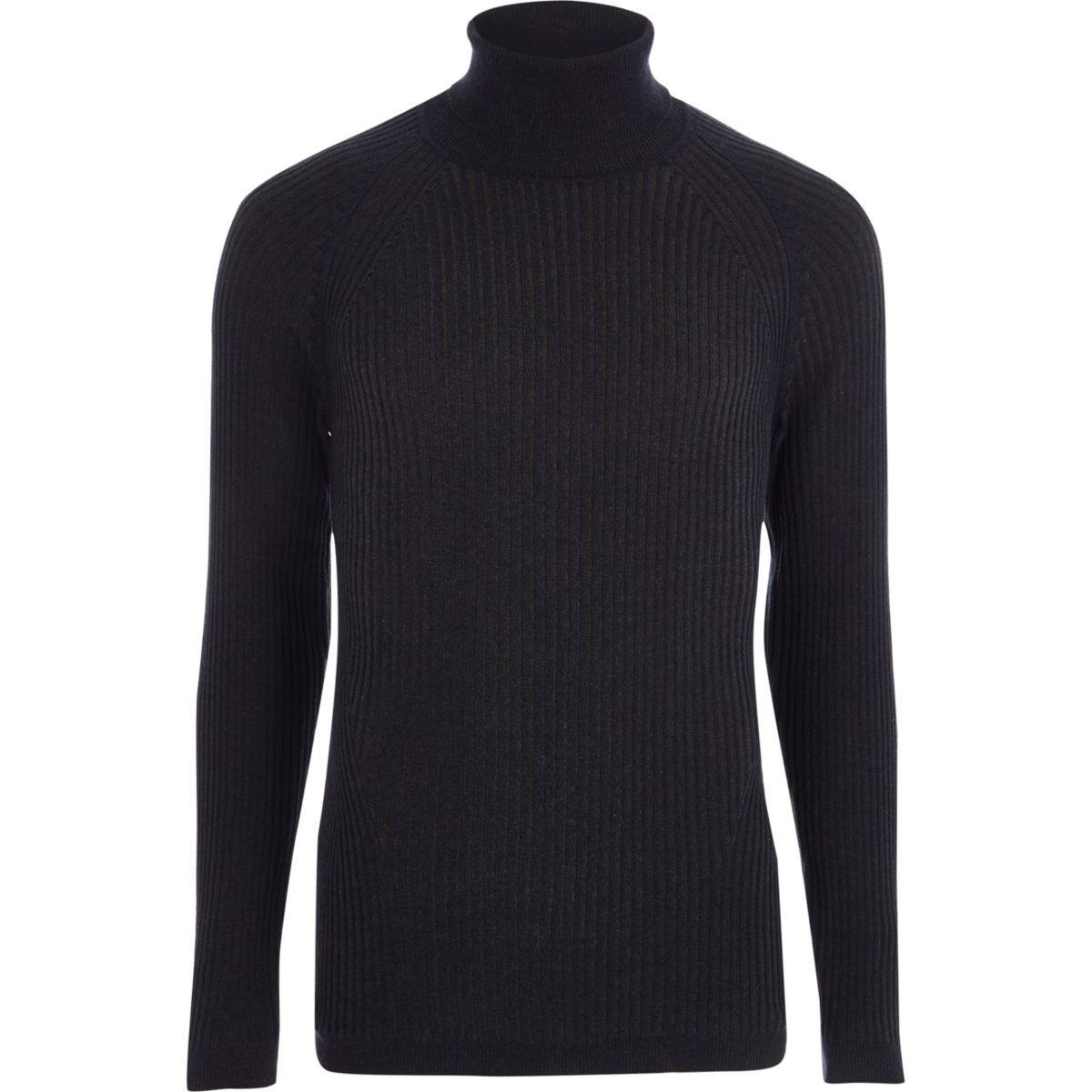 Navy ribbed muscle fit roll neck jumper