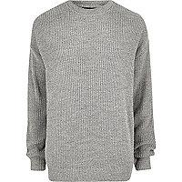 Big and Tall grey oversized fisherman sweater
