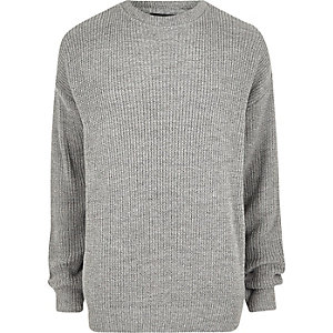 Big and Tall grey oversized fisherman jumper