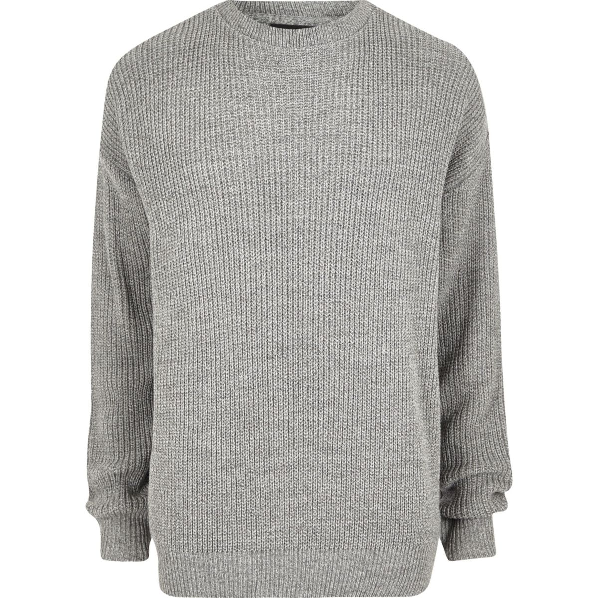 Big & Tall – Pull pêcheur oversize gris