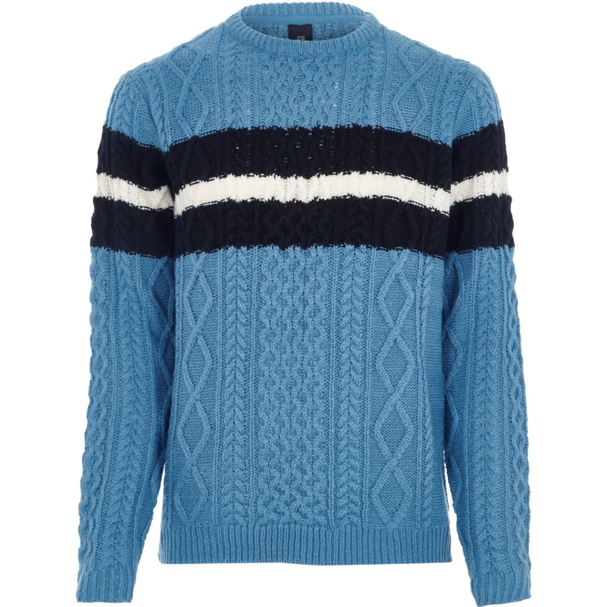Blue cable knit stripe jumper