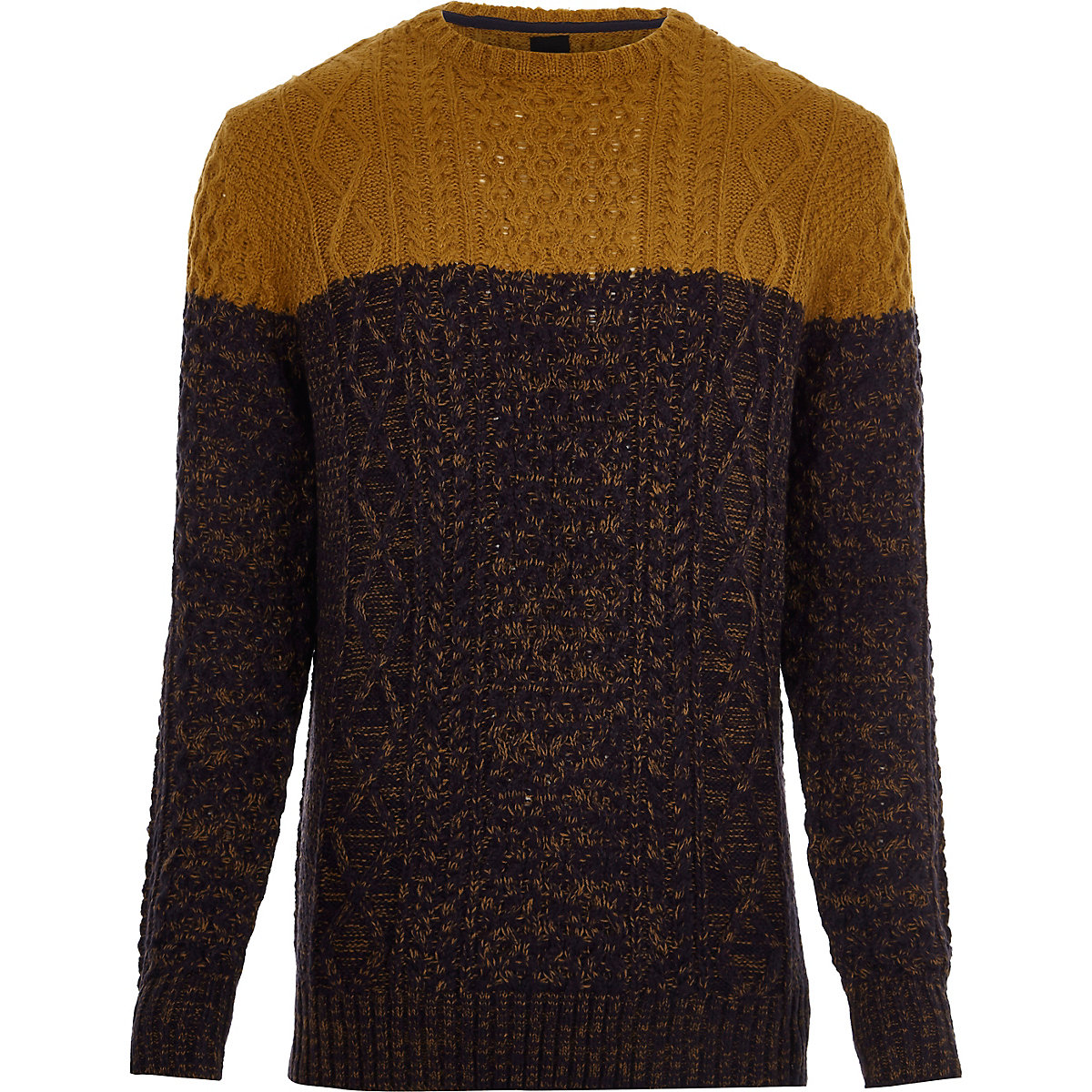 Yellow cable knit colour block jumper