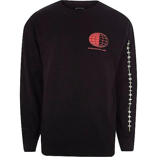 Black sphere print slouch sweatshirt